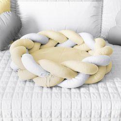 Ninho para Bebê Trança Amarelo e Branco 80cm
