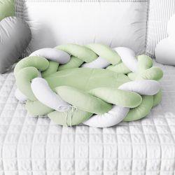 Ninho para Bebê Trança Verde e Branco 80cm