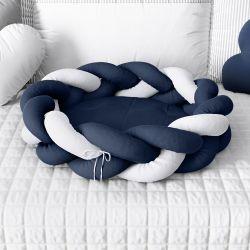 Ninho para Bebê Trança Azul Marinho e Branco