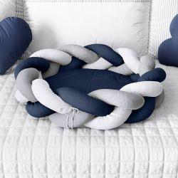 Ninho para Bebê Trança Azul Marinho e Cinza 80cm