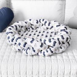 Ninho para Bebê Trança Carrinhos Azul Marinho 80cm