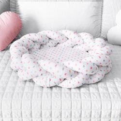 Ninho para Bebê Trança Corações Rosa