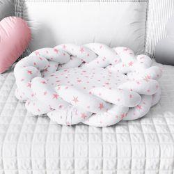 Ninho para Bebê Trança Estrelinhas Rosa