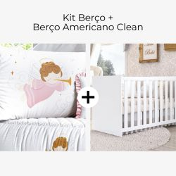 Kit Berço Anjinha Rosa + Berço Americano Clean