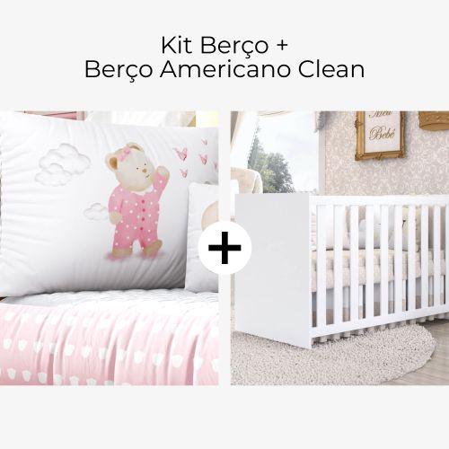 Kit Berço Ursinha de Pijama Rosa + Berço Americano Clean