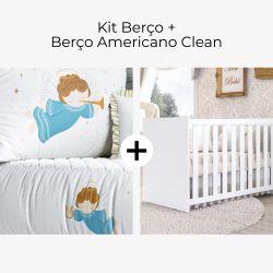 Kit Berço Anjinho Azul + Berço Americano Clean