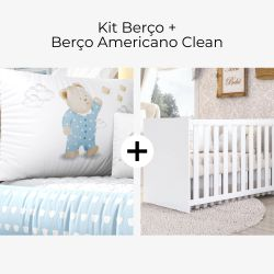 Kit Berço Ursinho de Pijama Azul + Berço Americano Clean