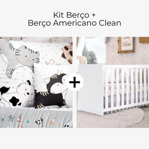 Kit Berço Gatinhos + Berço Americano Clean