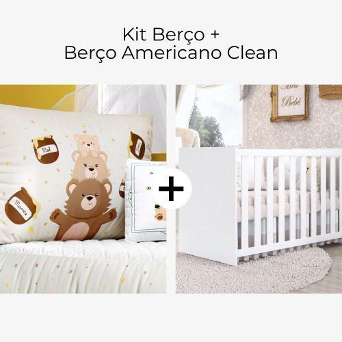 Kit Berço Família Ursinho + Berço Americano Clean