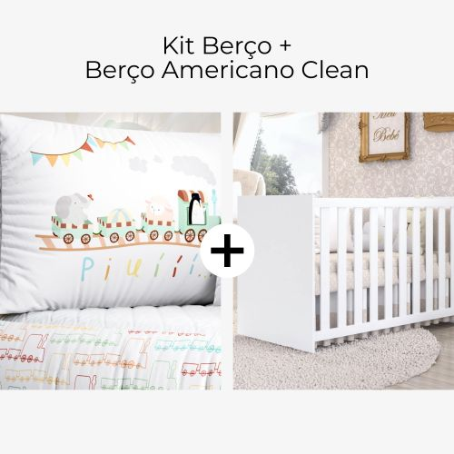 Kit Berço Trenzinho Piuí + Berço Americano Clean