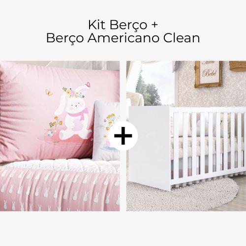 Kit Berço Coelhinha Lalá Rosa + Berço Americano Clean