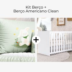 Kit Berço Coelhinho Lulú Verde + Berço Americano Clean