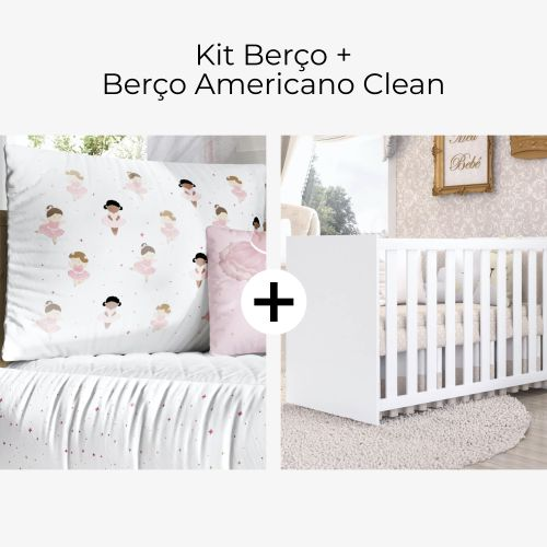 Kit Berço Bailarinas Baby + Berço Americano Clean