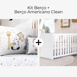 Kit Berço Safári Aquarela + Berço Americano Clean