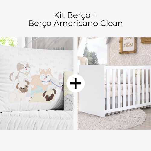 Kit Berço Cachorrinhos + Berço Americano Clean