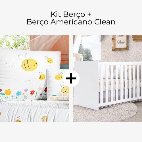 Kit Berço Abelhinhas no Jardim + Berço Americano Clean