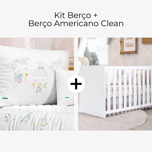 Kit Berço Fadinha das Flores + Berço Americano Clean