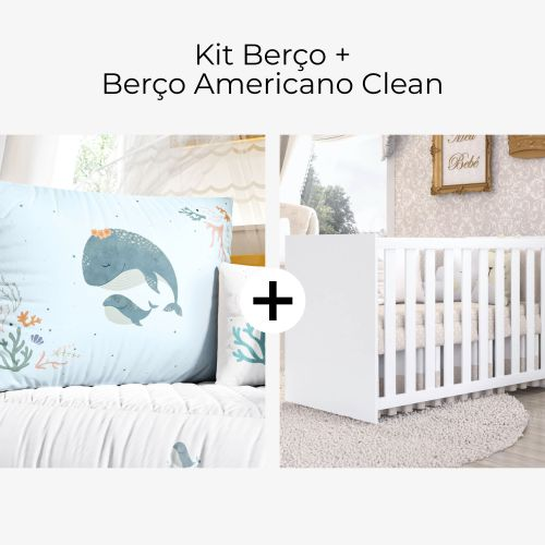 Kit Berço Mamãe e Bebê Baleia + Berço Americano Clean