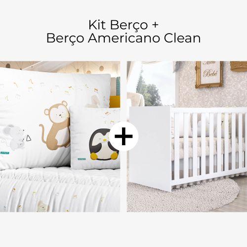 Kit Berço Bichinhos Do Ré Mi + Berço Americano Clean
