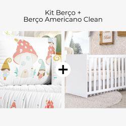 Kit Berço Casinha Cogumelo + Berço Americano Clean