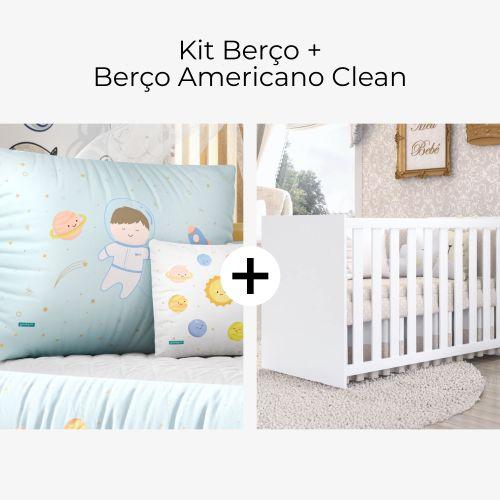 Kit Berço Menino Astronauta + Berço Americano Clean