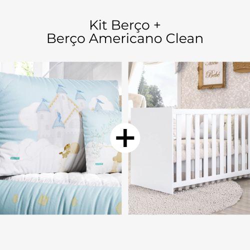 Kit Berço Castelo Azul + Berço Americano Clean