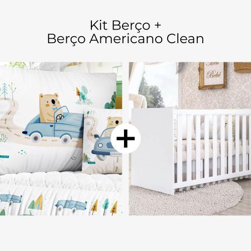 Kit Berço Urso e o Carrinho + Berço Americano Clean