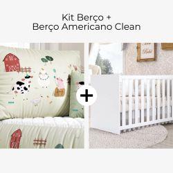 Kit Berço Fazenda Feliz + Berço Americano Clean