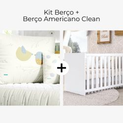 Kit Berço Passarinhos no Jardim + Berço Americano Clean