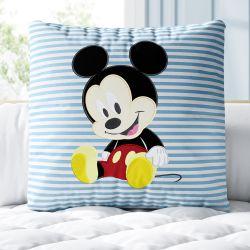 Almofada Quadrada Mickey Mouse Listra Azul 30cm