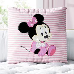 Almofada Quadrada Minnie Mouse Baby Rosa 30cm