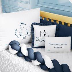Kit Berço Trança Teddy Príncipe Azul Marinho