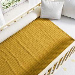 Manta de Tricot Trança Amarelo Mostarda 1M