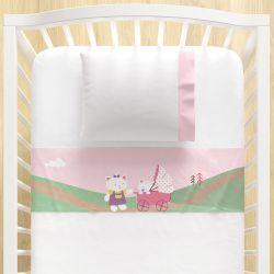 Jogo Lençol de Berço Bebê e Mamãe Gatinhas 3 peças