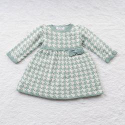 Vestido Tricot Jacquard Pied de Poule com Laço Verde e Off White
