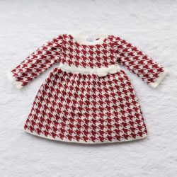 Vestido Tricot Jacquard Pied de Poule com Laço Vermelho