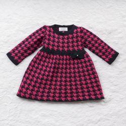 Vestido Tricot Jacquard Pied de Poule com Laço Pink e Azul Marinho