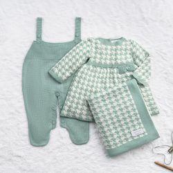 Saída Maternidade Tricot Jacquard Pied de Poule Verde e Off White 03 Peças