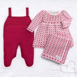 Saída Maternidade Tricot Jacquard Petit Coração Rosa 03 Peças