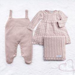 Saída Maternidade Tricot Jacquard Petit Coração Nude Rosé 03 Peças