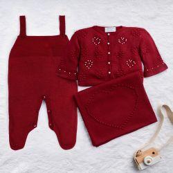 Saída Maternidade Tricot Coração e Pérola Vermelho 03 Peças