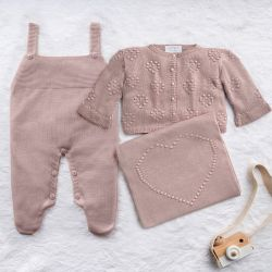 Saída Maternidade Tricot Coração e Pérola Nude Rosé 03 Peças