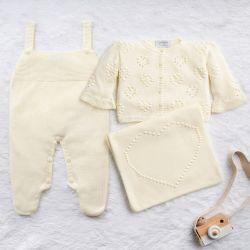 Saída Maternidade Tricot Coração e Pérola Amarelo Jasmim 03 Peças