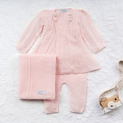 Saída Maternidade Tricot Casaco Princesa Rosa 03 Peças