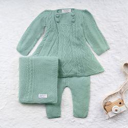 Saída Maternidade Tricot Casaco Princesa Verde 03 Peças