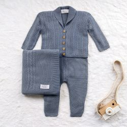 Saída Maternidade Tricot Casaquinho Monarca Azul Jeans 03 Peças