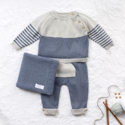 Saída Maternidade Tricot com Bolsinho e Listras Cinza e Azul Jeans 03 Peças