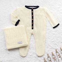 Saída Maternidade Tricot Macacão Trança Aram Amarelo Jasmim 02 Peças