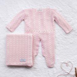 Saída Maternidade Tricot Mademoiselle Coração Rosa e Nude 02 Peças
