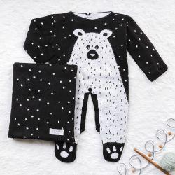 Saída Maternidade Tricot Jacquard Urso Nórdico Preto 02 Peças